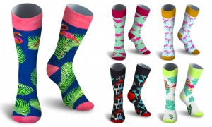 Men's Cotton Casual Flamingo Printed Socks